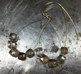 Champagne topaz earrings, sparkling delight on gold filled wire