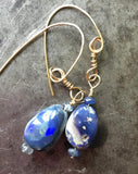 Australian opal and blue sapphire earrings, gold filled wire