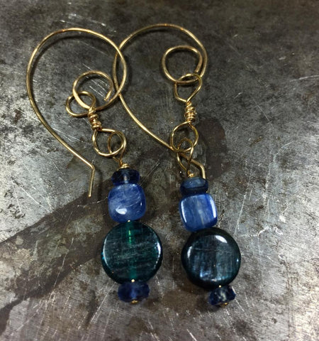 Kyanite three ways, shimmery blue green earrings