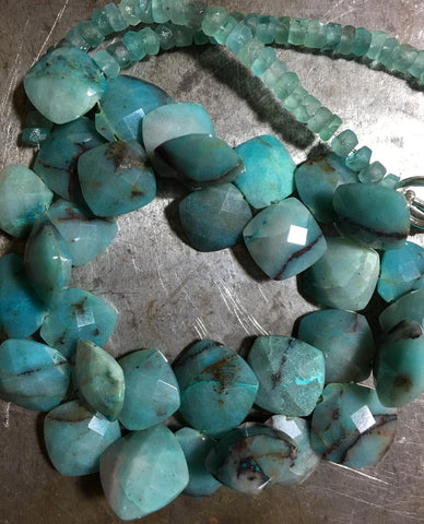 Azurite & Frosted Apatite Choker Necklace Blue Heaven