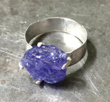 Magical deep violet blue tanzanite ring, rough, prong-set in sterling silver