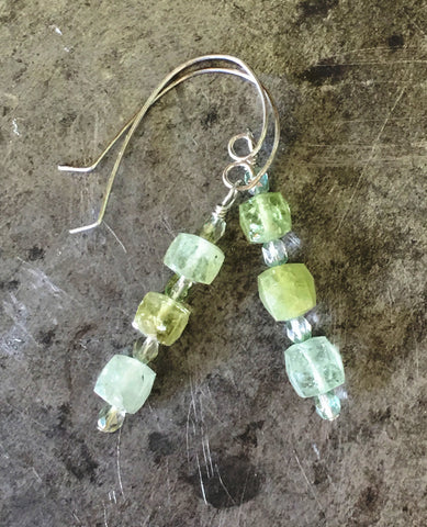Green garnet and crystal earrings