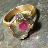 Watermelon tourmaline slice, 14K gold ring