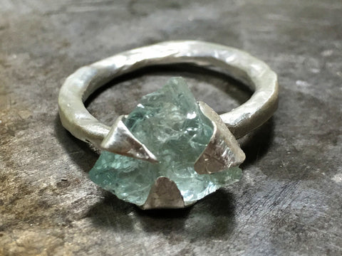 Raw aquamarine ring, sterling silver