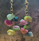A rainbow of tourmaline slices, earrings on gold filled wire
