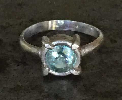 Blue green Paraiba tourmaline ring, faceted, set in sterling silver