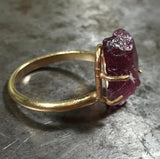Glowing pink tourmaline ring, 14K gold