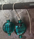 Teal glass bead earrings with Czech crystals, sterling silver