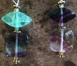 Fluorite earrings, purple and turquoise, sterli