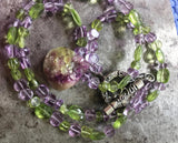 Ethereal vesuvianite pendant, amethyst and peridot necklace