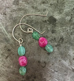 Emerald and ruby earrings, sterling silver