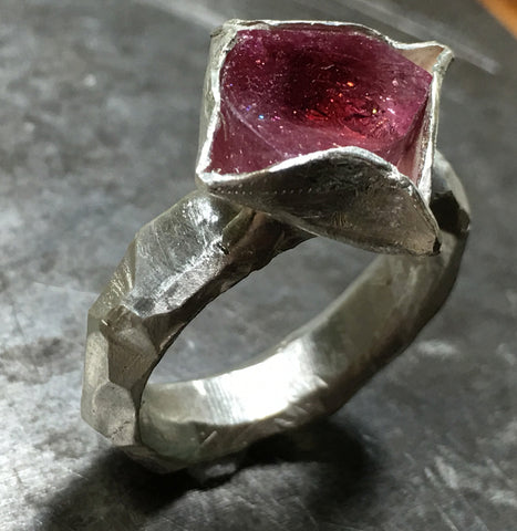 Deep pink tourmaline slice ring, sterling silver.