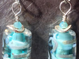 Silver and aqua glass earrings