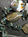 Abalone, keshi pearls, and iridescent bead necklace