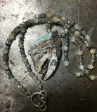 Awesome smithsonite pendant, tourmaline and moonstone necklace