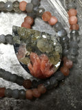 Ethereal drusy crystal cerussite barite galena pendant, moonstone necklace