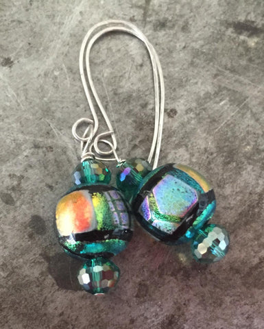 Czech glass and foil artisan bead earrings, multicolored