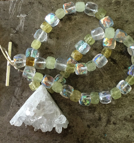 Quartz crystal pendant, green garnet crystal necklace
