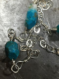 Chrysocolla and sterling ankle bracelet