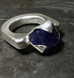 Tanzanite crystal ring, sterling silver