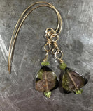 Stunning deep green watermelon tourmaline and peridot earrings.
