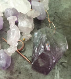 Sparkling violet ice pendant.  Amethyst, rough quartz necklace, 14K rose gold-filled toggle