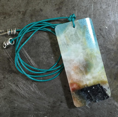 Morning sunrise,  amazonite pendant on teal leather necklace, sterling silver clasp