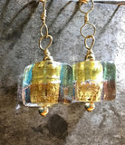 Glittery holiday Czech glass earrings, gold filled