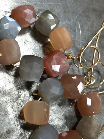 Luminous peach and gray moonstone earrings