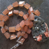 Cerussite barite drusy pendant, peach and grey moonstone faceted beaded necklace, Sterling silver toggle.