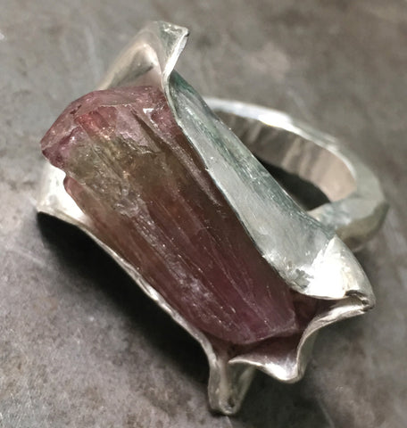 Awesome Raw Pink Tourmaline Sterling Silver Ring