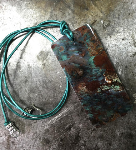 African green opal pendant knotted on metallic teal leather necklace