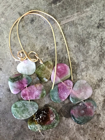 Rainbow of watermelon tourmaline slice earrings #1