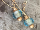 Delicate gold and gold-lined blue Czech glass bead earrings, 14K gold-filled wire