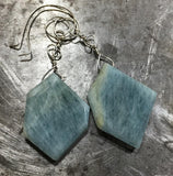 Awesome irregular aquamarine slice earrings, sterling silver
