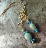 Tumbled blue green sapphire and blue topaz earrings, gold filled wire