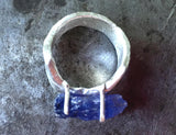 Blue violet tanzanite ring, rough crystal, in fine silver