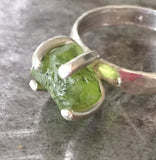 Rough uncut 6 ct peridot crystal prong-set in wide hammered sterling silver ring, size 8 1/2