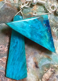 Asymmetrical hand-cut gem silica chrysocolla earrings, sterling silver. Gorgeous, edgy, sexy and bold