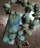 Azurite chrysocolla pendant on a AB chrysoprase, pyrite and bronze pearl necklace