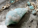 Gem silica chrysocolla drusy pendant, asymmetrical sterling silver, raw apatite necklace