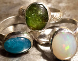 Ethiopian opal ring, cabachon set in sterling silver