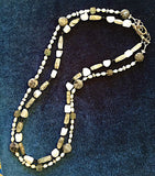 Moonstone, labradorite, and quartz double stranded necklace, sterling silver
