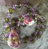 Vesuvianite crystal with green garnet and amethyst beaded necklace, sterling silver amethyst clasp