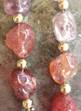 Spinel earrings, gold filled beads and findings