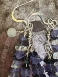 Iolite, pearl and moonstone earrings