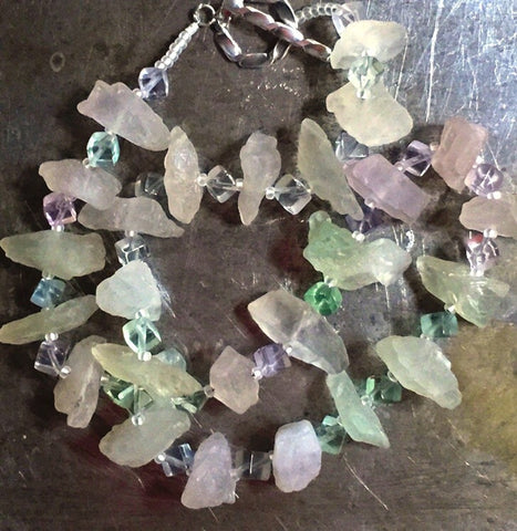 Fluorite, rough chunks and polished cubes, necklace with sterling silver toggle clasp