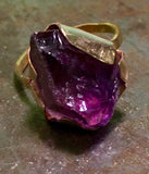 Amethyst ring, rough cut, gold-filled setting, misfit toy