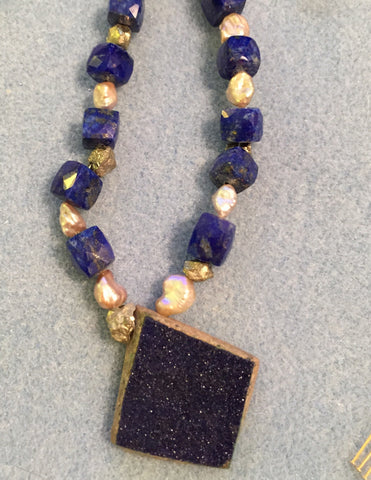 Custom Azurite drusy pendant on lapis and pearl necklace, reserved for FM