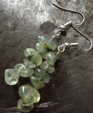 Prehnite nuggets, polished, sterling silver earrings.